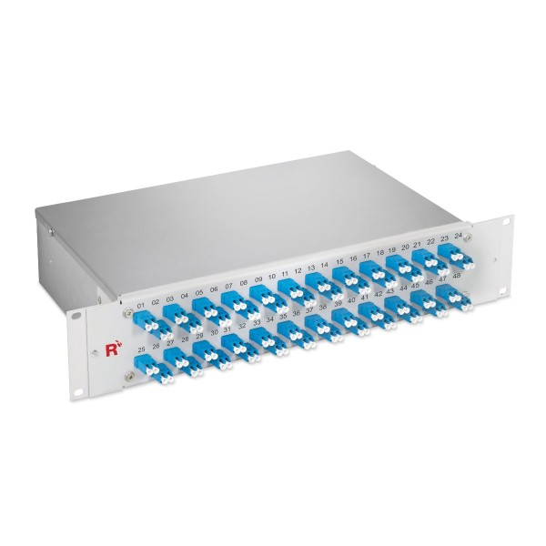 "19"" Fiber optic distribution panel 96 fibers singlemode OS2, LC/LC duplex, 19"" fixed installation 2 HU"