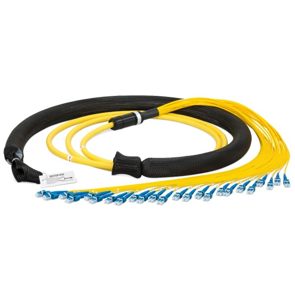 Fiber optic trunk cable multijumper 48 fibers singlemode OS2, LC-PC/LC-PC, I-B(ZN)BH, with LC Compact