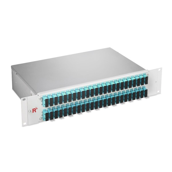 "19"" Fiber optic distribution panel 96 fibers multimode OM3, SC/SC duplex, 19"" fixed installation 2 HU"