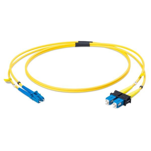 Fiber optic patch cord duplex singlemode OS2, LC-PC/SC-PC, I-V(ZN)H 2x 2,1 mm
