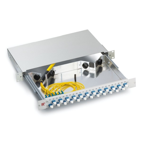 "19"" Fiber optic distribution panel 48 fibers singlemode OS2, LC/LC duplex, telescopic complete pullout 1 HU"