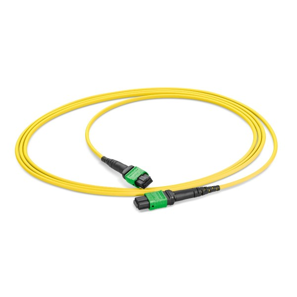 Fiber optic patch cord 12 fibers singlemode OS2, MTP®-APC-f/ MTP®-APC-f, I-F(ZN)H rund 3,0 mm
