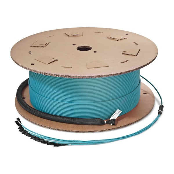 Fiber optic trunk cable multijumper 24 fibers multimode OM3, LC-PC/LC-PC, U-DQ(ZN)BH, with LC Compact